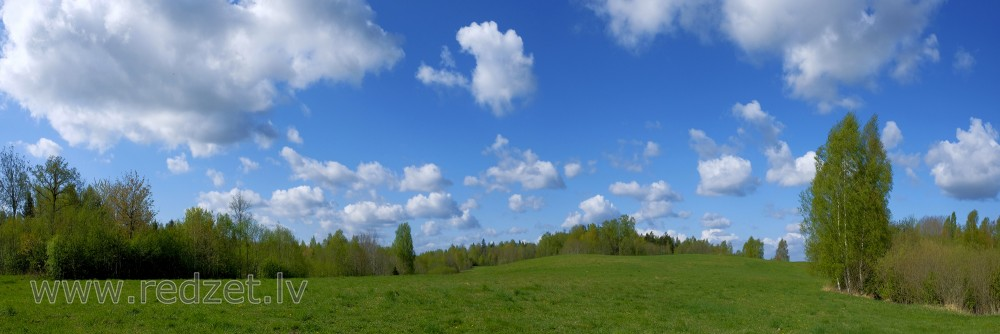 Panoramic View of the Countryside with Clouds
