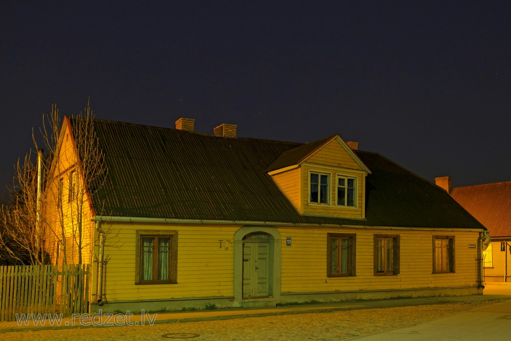 Wooden house in Night, Ventspils