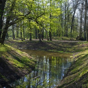 Eleja Manor Park and Pond in Spring