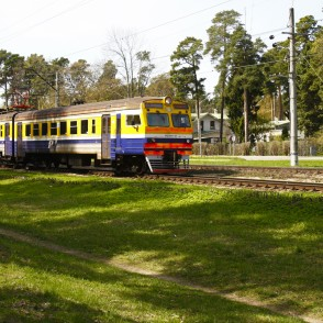 Electric  Passenger Train in the City Jūrmala