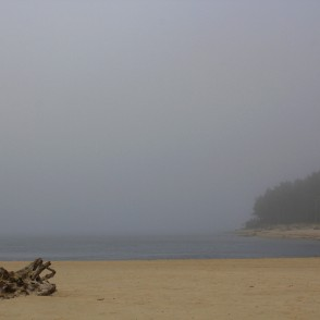 Rivermouth of Gauja in a Foggy Autumn Day