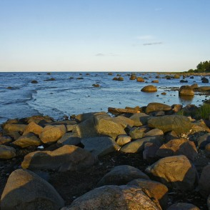 Rocky shore of the Baltic Sea in Mersrags, Latvia
