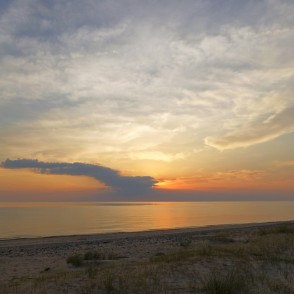 Sunset panorama in the Baltic Sea