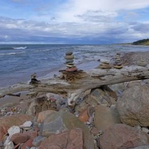 Rock stack on the seashore, Latvia
