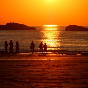Sunset from Porthmeor beach in St Ives, Cornwall, UK