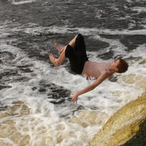 Jumping into water