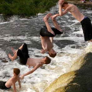 Jumping into water (photomontage)