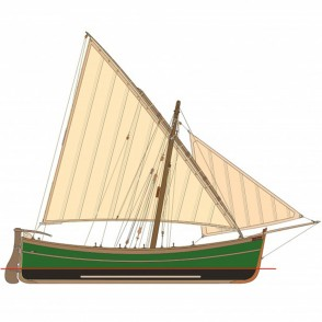 Drawings of wooden ships with dimensions