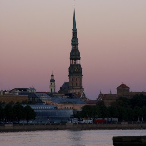 Riga St Peter's Church in Evening