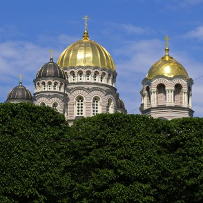 Nativity Cathedral Domes above Tops of Brivibas (Liberty) Boulevard Lime Trees