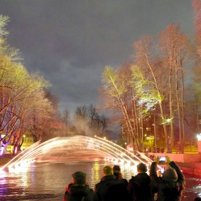 "Light Festival ""Staro Rīga 2018"" - Landscape Audio-visual Environmental Object with Fountain Elements ""The Forest of Sensations"""