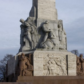 Sculptures at the base of Freedom monument in Riga