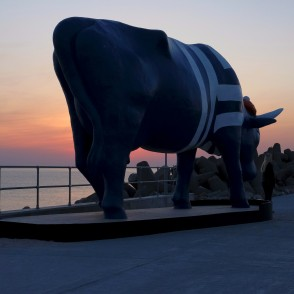 "Sculpture ""Cow Seaman"" in Night, Ventspils"