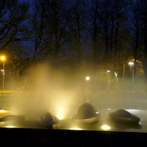 "Fountain ""Sun Boats"" in Night, Ventspils, Latvia"