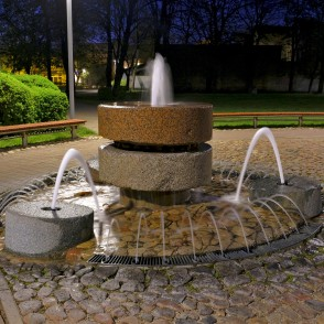 Fountain in Mill Square in Night, Ventspils