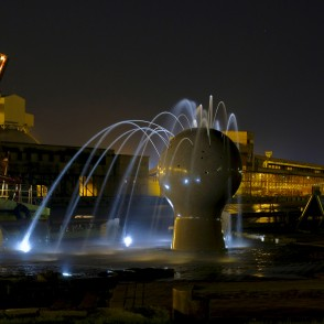 "Fountain ""Ship Observer"" in Night, Ventspils, Latvia"