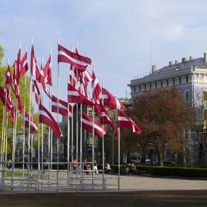 Flags of Latvia in Esplanade, Riga