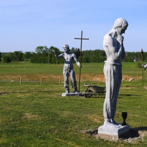 Apostolic sculptures by Sculptor Sandis Aizpurs at Brukna Manor Complex