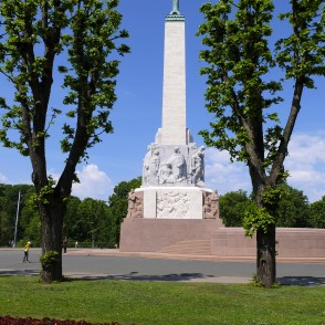 Freedom Monument in Side View and Pollarded Lime Trees