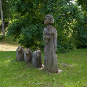 Wooden Sculptures In Kazdanga Manor Park